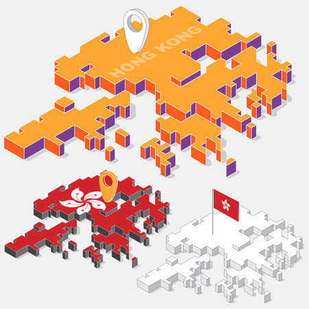 hong kong: Hong Kong flag on map element with 3D isometric shape isolated on background, vector illustration