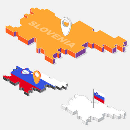 Slovenia flag on map element with 3D isometric shape isolated on background, vector illustration