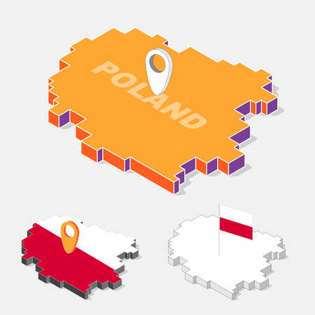 solated: Poland flags on map element with 3D isometric shape isolated on background, vector illustration