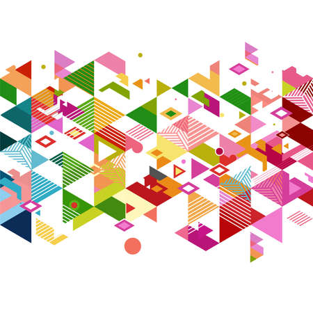 graphic pattern: Abstract colorful and creative geometric with a variety of graphic and pattern on white. Illustration