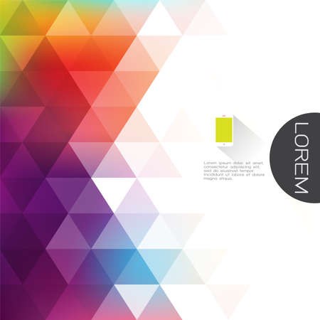 カラフルな透明性、フェードの三角形の背景は横にある本文の空白で。ビジネスまたは技術プレゼンテーションのモダンな背景は。ベクトル図