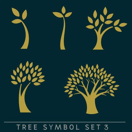 Set of simple and stylish tree symbol isolated on dark background, vector illustration
