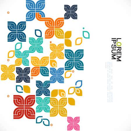 bunte grafische Dekoration des Musters und der Vielzahl mit grafischem Konzept des Blumen- und zeitgenössischen thailändischen Kunstmusters, Vektorillustration