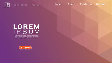 Landing page template with abstract colorful gradient geometric and modern overlapping background. Vector illustration