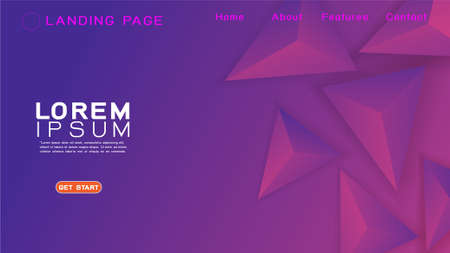 Landing page template with abstract colorful gradient and 3D triangular geometric background. Vector illustration Иллюстрация
