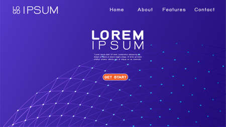 Landing page template with abstract gradient and 3D mesh network background. Vector illustration