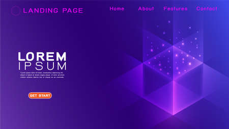 Landing page template futuristic technology with abstract colorful light gradient and overlapping background. Vector illustration Иллюстрация