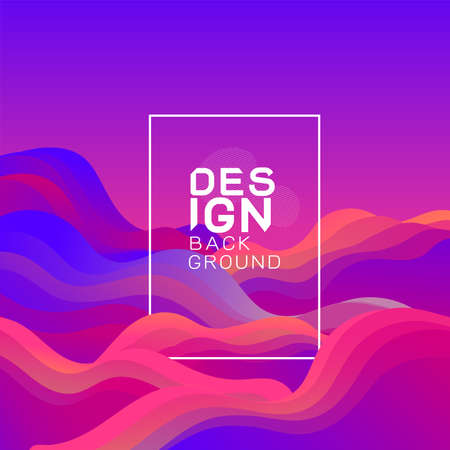 Abstract 3d gradient wavy shapes composition background and frame for text on middle.  Vector illustration