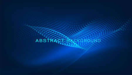 Abstract dynamic flowing wave for landing page or technology background,  Vector illustration
