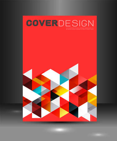 Cover template with triangle geometry overlapping for corporate business design background, vector illustration Иллюстрация