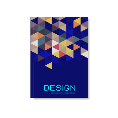 Cover design template with triangle geometric pattern background, vector illustration Иллюстрация