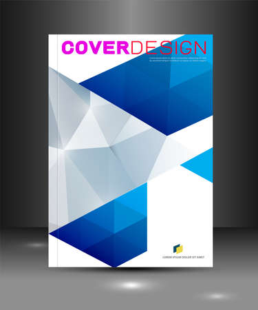 Cover template with blue triangle geometry overlapping for corporate business design background, vector illustration