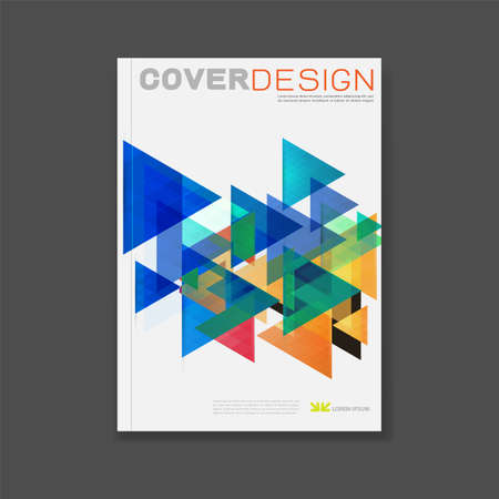 Cover template, brochure template layout, book cover, annual report, magazine or booklet  with abstract triangle design on white background for technology concept and corporate business in A4 size, vector illustration