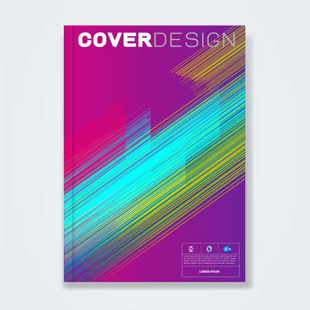 Cover template, brochure template layout, book cover, annual report, flyer, magazine cover or booklet for corporate business concept with colorful thin line, vector illustration