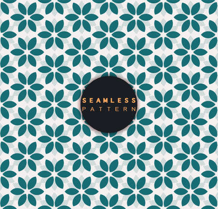 Vector seamless pattern with floral shape and dots stylish texture repeating geometric simple background.