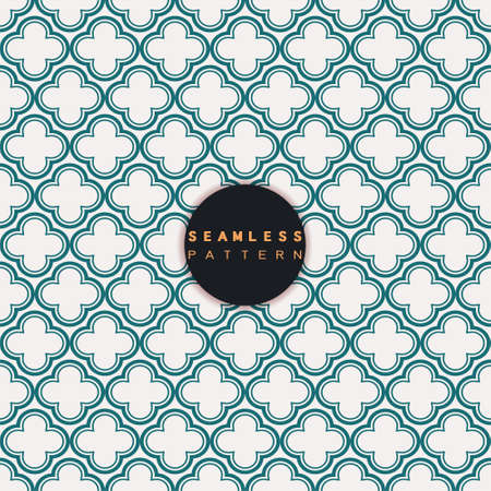 Vector seamless pattern. Repeating geometric tiles grid with linear floral shape. Modern stylish texture and trendy graphic design. Иллюстрация