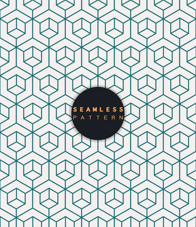 Vector seamless pattern. Repeating geometric tiles with linear cube and hexagon grid.  Modern stylish texture and trendy graphic design. Иллюстрация