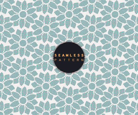 Vector seamless pattern with dots stylish texture in floral shape repeating geometric simple background. Иллюстрация