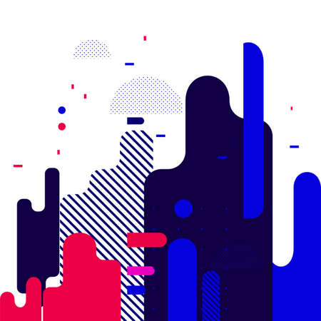 Abstract flat dynamic background design. Movement of simple geometric shapes on white background. Vector illustration