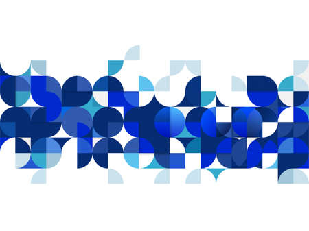 Abstract trendy geometric template with blue repeating grid pattern