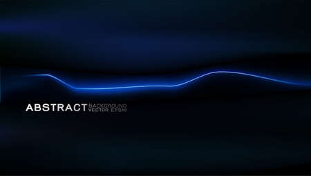 Vector design trendy and technology concept. Blue light moving strip and copy space on darkness
