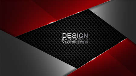 Vector design trendy and technology concept. Frame border dimension by carbon fiber texture shiny red silver and copy space on darkness