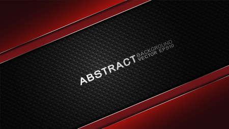 Trendiges Vektordesign und Technologiekonzept. Berühmtheitsgrenze durch Kohlefaserstruktur glänzend rot und Kopienraum bei Dunkelheit