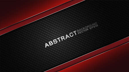 Vector design trendy and technology concept. Fame border dimension by carbon fiber texture shiny red and copy space on darkness