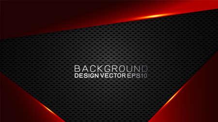 Trendiges Vektordesign und Technologiekonzept. Berühmtheitsgrenze durch Kohlefaserstruktur glänzend rot und Kopienraum bei Dunkelheit Vektorgrafik