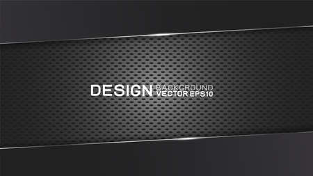 Vector design trendy and technology concept. Dark frame border dimension by carbon fiber texture and copy space on dark Иллюстрация