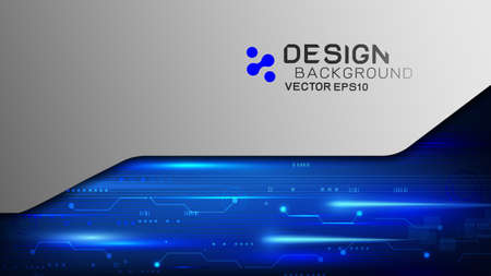 Vector design trendy and digital technology concept. Frame border dimension with light movement and metal texture and copy space. Abstract futuristic technology template. Иллюстрация