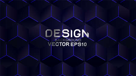 Abstract futuristic and technology concept with hexagon line on dark background, Vector illustration