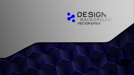 Abstract futuristic and technology background concept. Frame with blue hexagon shape on dark and copy space on background, Vector illustration