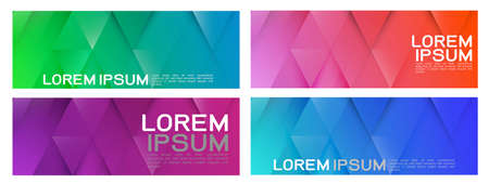 Set of colorful repeating triangles gradient geometric in contemporary style. Abstract geometric horizontal template and modern stylish texture. Vector illustration