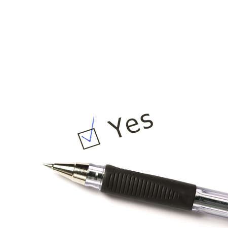 I said Yes! Closeup of pen and yes-option on white background photo
