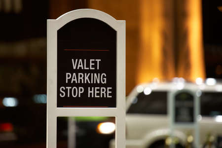 Valet parking - stop here sign Stock Photo