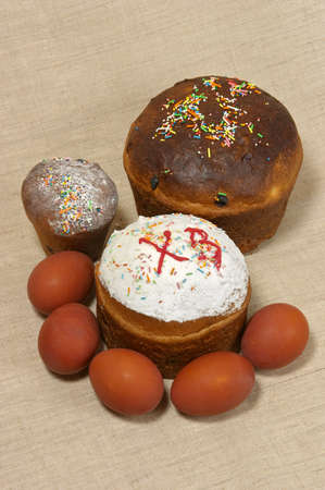 paschal: Closeup of Easter cake and paschal eggs Stock Photo