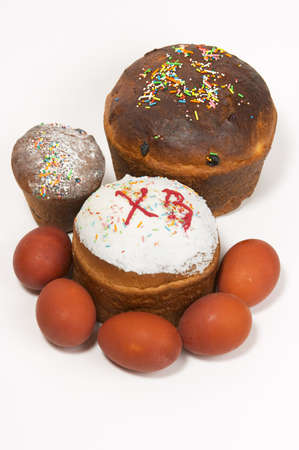 paschal: Easter cake and paschal eggs Stock Photo
