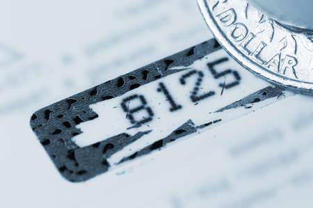 identifier: Personal identifier (closeup of credit card pin-code) Stock Photo