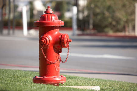 Closeup of typical american red fire hydrant. Las Vegas