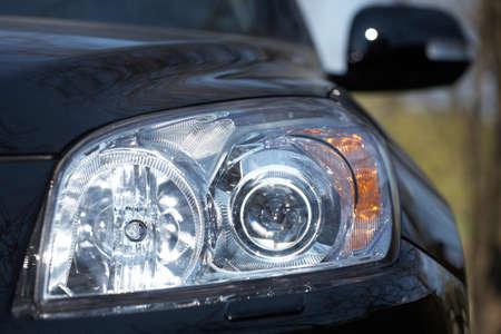 Closeup of car headlight - front view Zdjęcie Seryjne