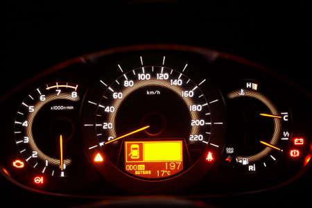 Auto indicator board - closeup of car dashboard photo