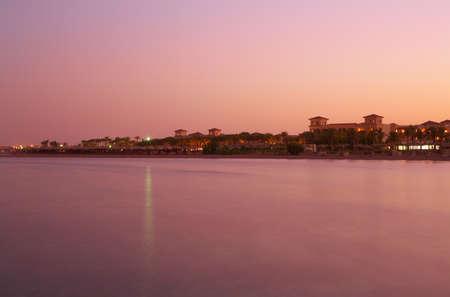 Landscape sunset on Red Sea - pink still water, sky - Red Sea, Sinai, Egypt, Sharm el-Sheikh photo