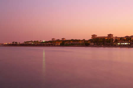 Landscape sunset on Red Sea - pink still water, sky - Red Sea, Sinai, Egypt, Sharm el-Sheikh