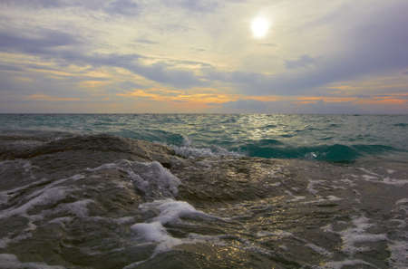 Sea ocean landscape - water waves, sun, clouds sky