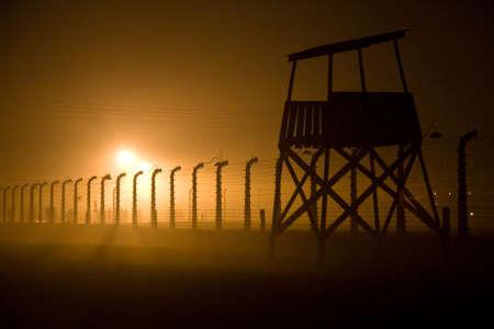 birkenau: control tower at Birkenau night Stock Photo