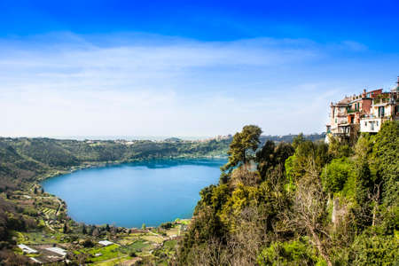 Landscape of Nemi with volcanic lake