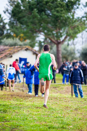 crosscountry: Athlete in action at cross-country race