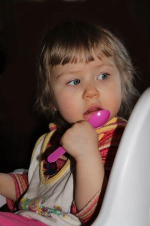 child waits a breakfast
