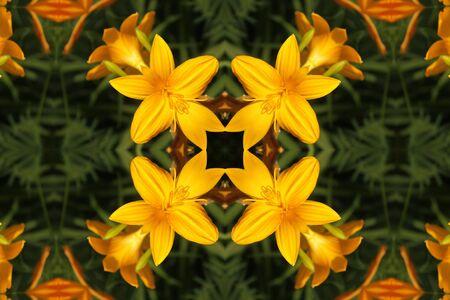 Adorno abstracto con lirios amarillos